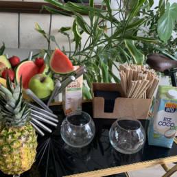 Fruits bio pour le vélo smoothie
